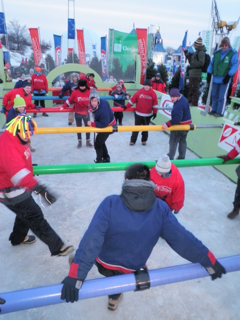 For some reason, human foosball on ice makes sense at Carnaval de Quebec.
