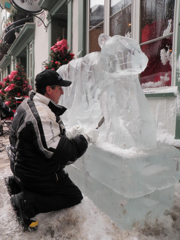 Ice sculptor finds a bear inside a block of ice
