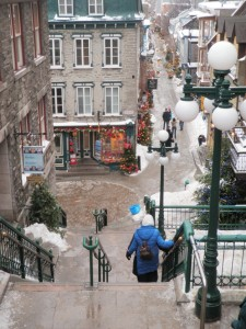 On the staircase between Upper Town and Lower Town in Quebec City