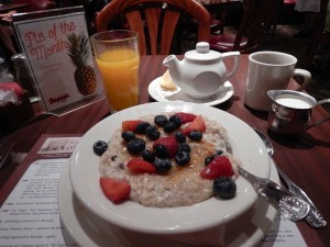 You can't get more basic than hot oatmeal and cold orange juice. (Photo: Tom Adkinson)