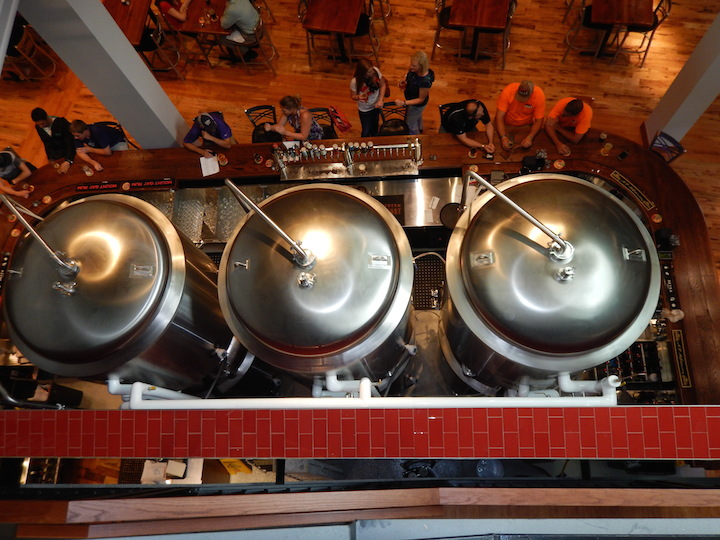 Beer in the tanks and beer on tap at the Tallgrass Tap Room. (Photo: Tom Adkinson)
