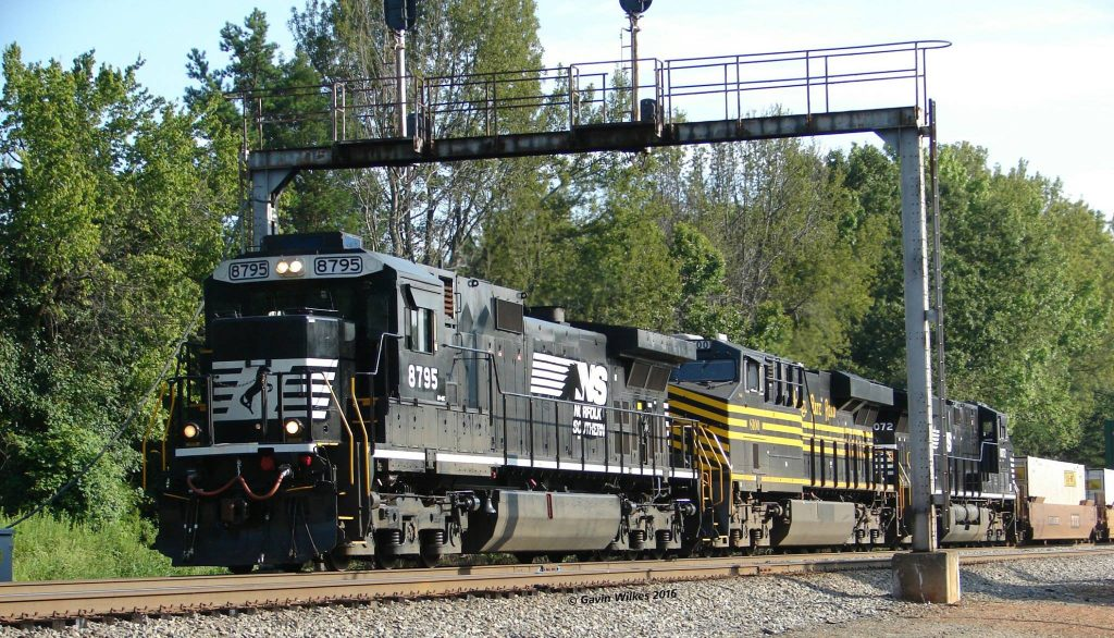The intermodal takes the signal at Swann, with Norfolk Southern's Nickel Plate heritage unit looking good.